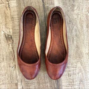 Frye Carson Leather Ballet Flat Brown 7.5
